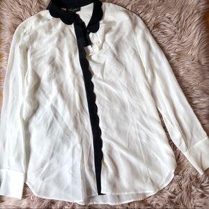 Banana Republic 100% Silk Black & White Shirt XL